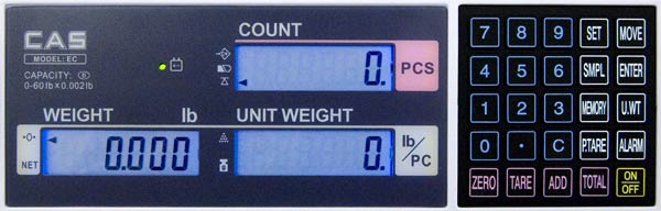 cas ec counting scale keypad